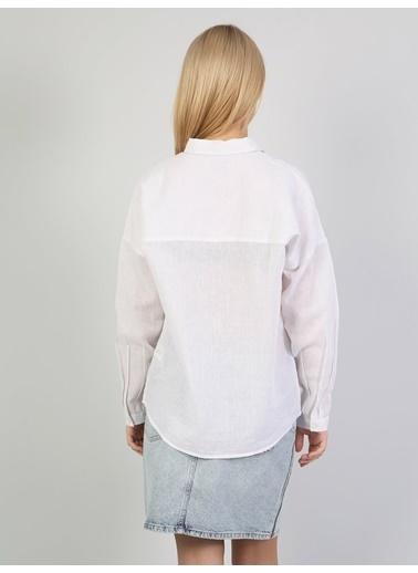 Colin's Dar Kesim Uzun Kol Gömlek Beyaz